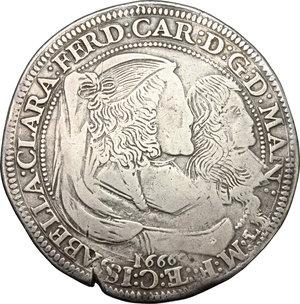 obverse: Mantova.  Ferdinando Carlo Gonzaga Nevers, reggenza della madre Isabella Clara (1665-1668).. Ducatone 1666