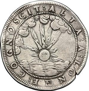 reverse: Mantova.  Ferdinando Carlo Gonzaga Nevers, reggenza della madre Isabella Clara (1665-1668).. Ducatone 1666