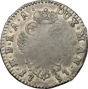 reverse: Mantova.  Maria Teresa d Asburgo (1740-1780). Mezzo ducatone 1757
