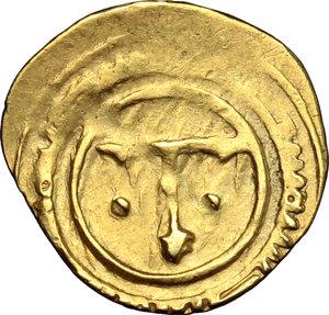 reverse: Messina.  Ruggero I  (1072-1101) . Tarì con T accostata da globetti