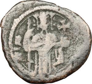 obverse: Messina.  Ruggero II, Duca Normanno (1105-1154). Follaro piatto con Ruggero e croce gigliata