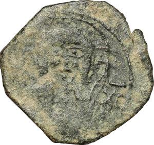 obverse: Messina.  Ruggero II, Duca Normanno (1105-1154), ultima fase. Follaro con busto di Cristo (1138-1139)