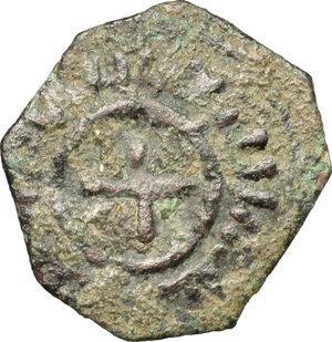 obverse: Messina.  Ruggero II, Duca Normanno (1105-1154), ultima fase. Follaro con croce (1141-1142)