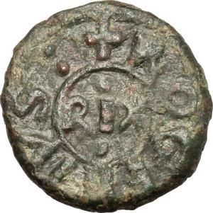 obverse: Messina.  Tancredi (1190-1194). Follaro