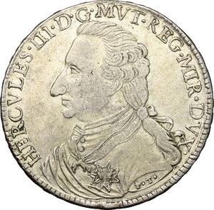 obverse: Modena.  Ercole III d Este (1780-1796). Tallero 1796
