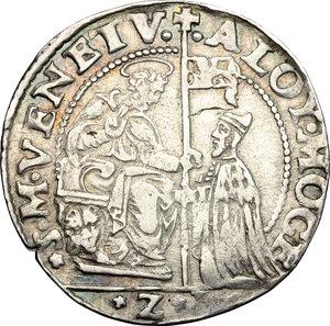 obverse: Venezia.  Alvise I Mocenigo (1570-1577). 40 soldi con Santa Giustina, sigla Z L