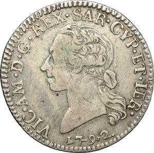 obverse: Carlo Emanuele II (1638-1675). 1/4 di scudo sardo 1792