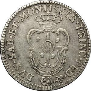 reverse: Carlo Emanuele II (1638-1675). 1/4 di scudo sardo 1792