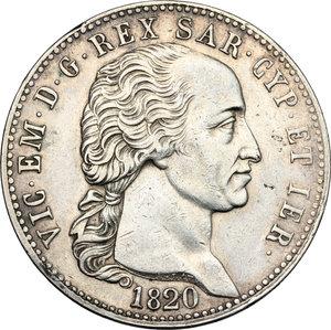 obverse: Vittorio Emanuele I (1802-1821).. 5 lire 1820