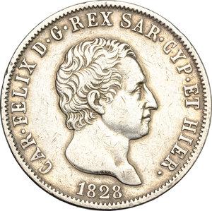 obverse: Carlo Felice (1821-1831). 5 lire 1828 Genova