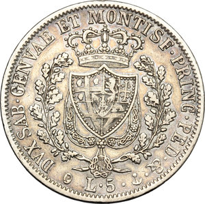 reverse: Carlo Felice (1821-1831). 5 lire 1828 Genova