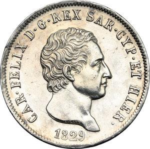 obverse: Carlo Felice (1821-1831).. 5 lire 1829 Genova
