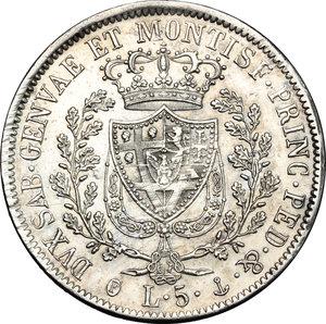 reverse: Carlo Felice (1821-1831).. 5 lire 1829 Genova