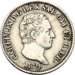obverse: Carlo Felice (1821-1831).. 50 centesimi 1828, Torino