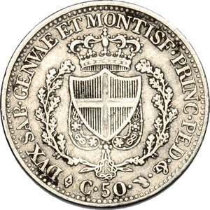 reverse: Carlo Felice (1821-1831).. 50 centesimi 1828, Torino