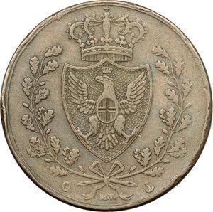 obverse: Carlo Felice (1821-1831). 5 centesimi 1826 Genova