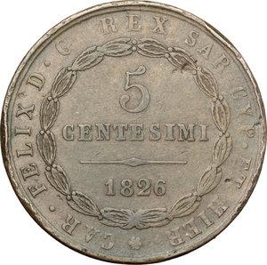 reverse: Carlo Felice (1821-1831). 5 centesimi 1826 Genova