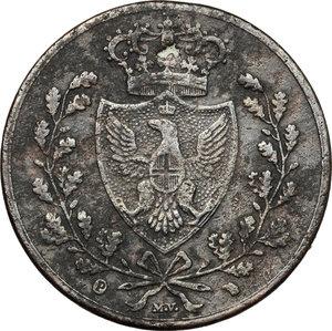 obverse: Carlo Felice (1821-1831). 5 centesimi 1826 Torino (P in ovale)