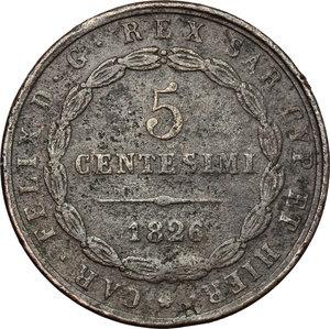 reverse: Carlo Felice (1821-1831). 5 centesimi 1826 Torino (P in ovale)