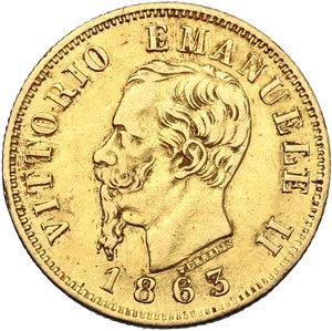 obverse: Vittorio Emanuele II  (1861-1878).. 10 lire 1863