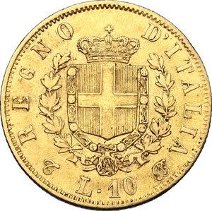 reverse: Vittorio Emanuele II  (1861-1878).. 10 lire 1863