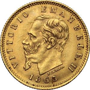 obverse: Vittorio Emanuele II  (1861-1878). 5 lire 1863