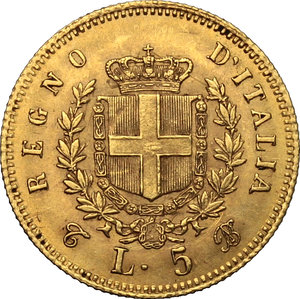 reverse: Vittorio Emanuele II  (1861-1878). 5 lire 1863