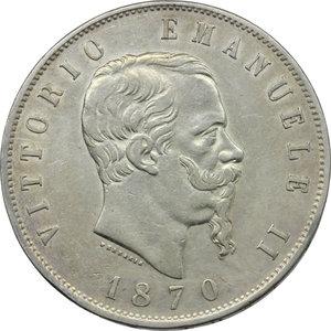 obverse: Vittorio Emanuele II (1861-1878). Lotto di 2 monete da 5 lire 1870 Milano e Roma