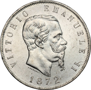 obverse: Vittorio Emanuele II  (1861-1878).. 5 lire 1872 M