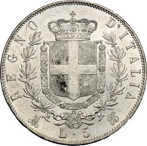 reverse: Vittorio Emanuele II  (1861-1878).. 5 lire 1872 M