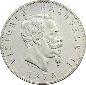 obverse: Vittorio Emanuele II (1861-1878). Lotto di 2 monete da 5 lire 1875 Roma