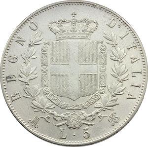 reverse: Vittorio Emanuele II (1861-1878). Lotto di 2 monete da 5 lire 1875 Roma