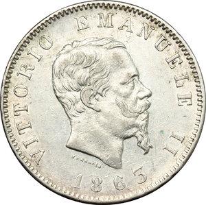obverse: Vittorio Emanuele II  (1861-1878). Lira 1863 M