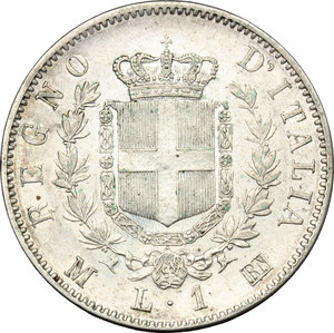 reverse: Vittorio Emanuele II  (1861-1878). Lira 1863 M