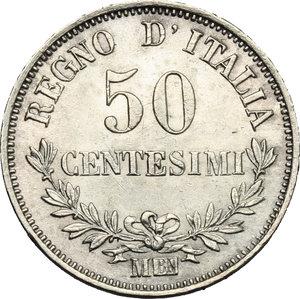 reverse: Vittorio Emanuele II  (1861-1878).. 50 centesimi 1863 M