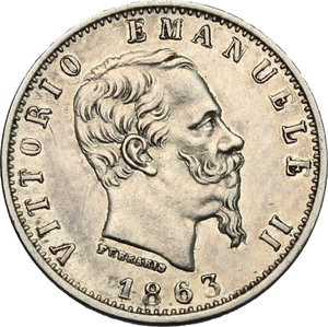 obverse: Vittorio Emanuele II  (1861-1878).. 20 centesimi 1863 Milano