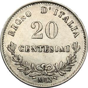 reverse: Vittorio Emanuele II  (1861-1878).. 20 centesimi 1863 Milano
