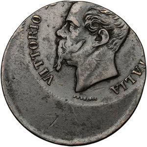 obverse: Vittorio Emanuele II  (1861-1878).. 5 centesimi 1862 N. Errore di conio