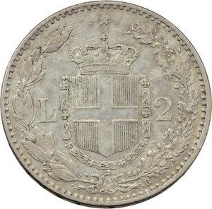 reverse: Umberto I (1878-1900). 2 lire 1885
