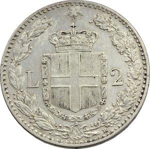 reverse: Umberto I (1878-1900). 2 lire 1897