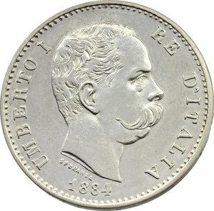 obverse: Umberto I (1878-1900). Lira 1884