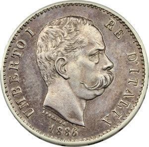 obverse: Umberto I (1878-1900). Lira 1886