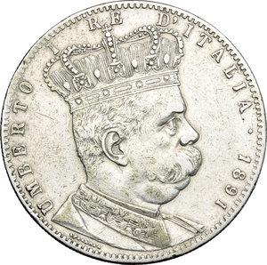 obverse: Umberto I (1878-1900).. Tallero 1891