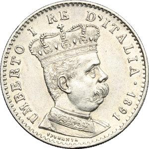 obverse: Umberto I (1878-1900).. Lira 1891