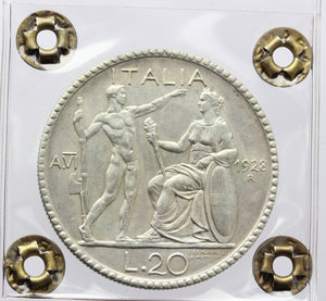 reverse: Vittorio Emanuele III (1900-1943). 20 lire 1928