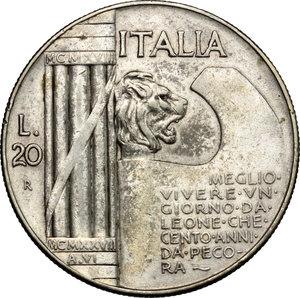 reverse: Vittorio Emanuele III (1900-1943) . 20 Lire 1928