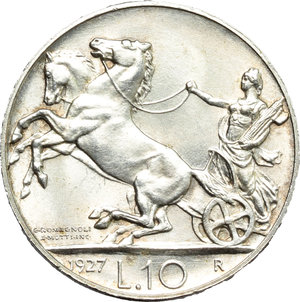 reverse: Vittorio Emanuele III (1900-1943). 10 lire 1927