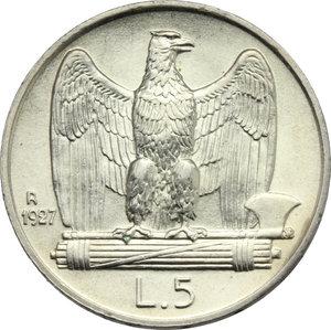 reverse: Vittorio Emanuele III (1900-1943). Lotto di 2 monete da 5 lire 1927: 1 e 2 rosette