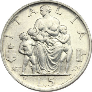 reverse: Vittorio Emanuele III (1900-1943). Lotto di 2 monete da 5 lire 1936 e 1937