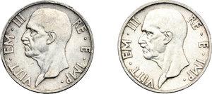 obverse: Vittorio Emanuele III (1900-1943). 5 lire 1936 e 1937